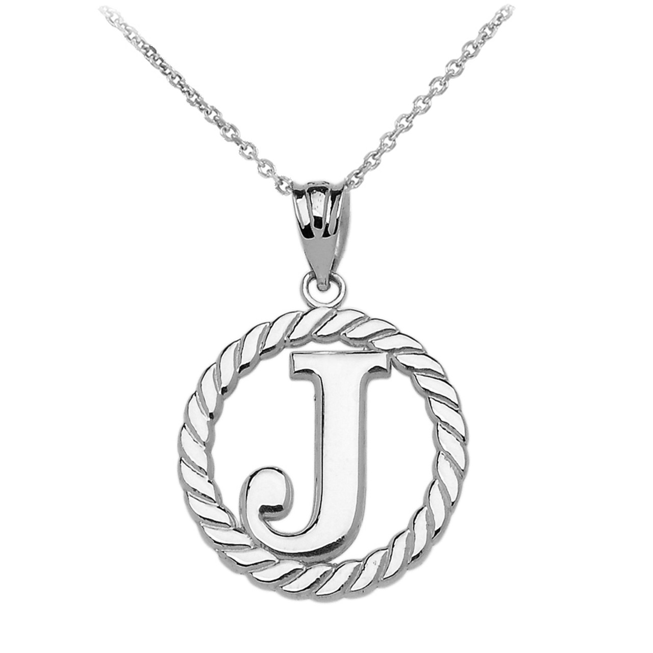 White gold j initial in rope circle pendant necklace aloadofball Gallery