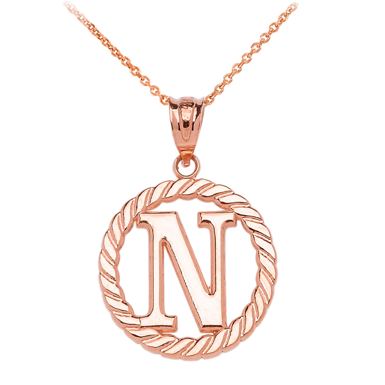 Rose gold n initial in rope circle pendant necklace mozeypictures Gallery