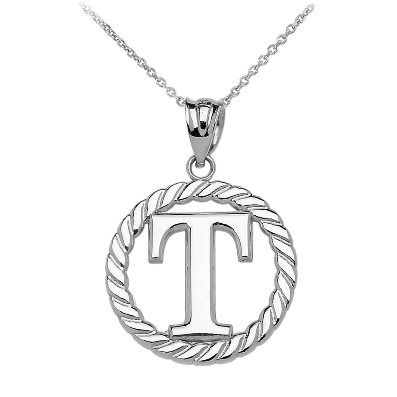 White gold t initial in rope circle pendant necklace mozeypictures Gallery