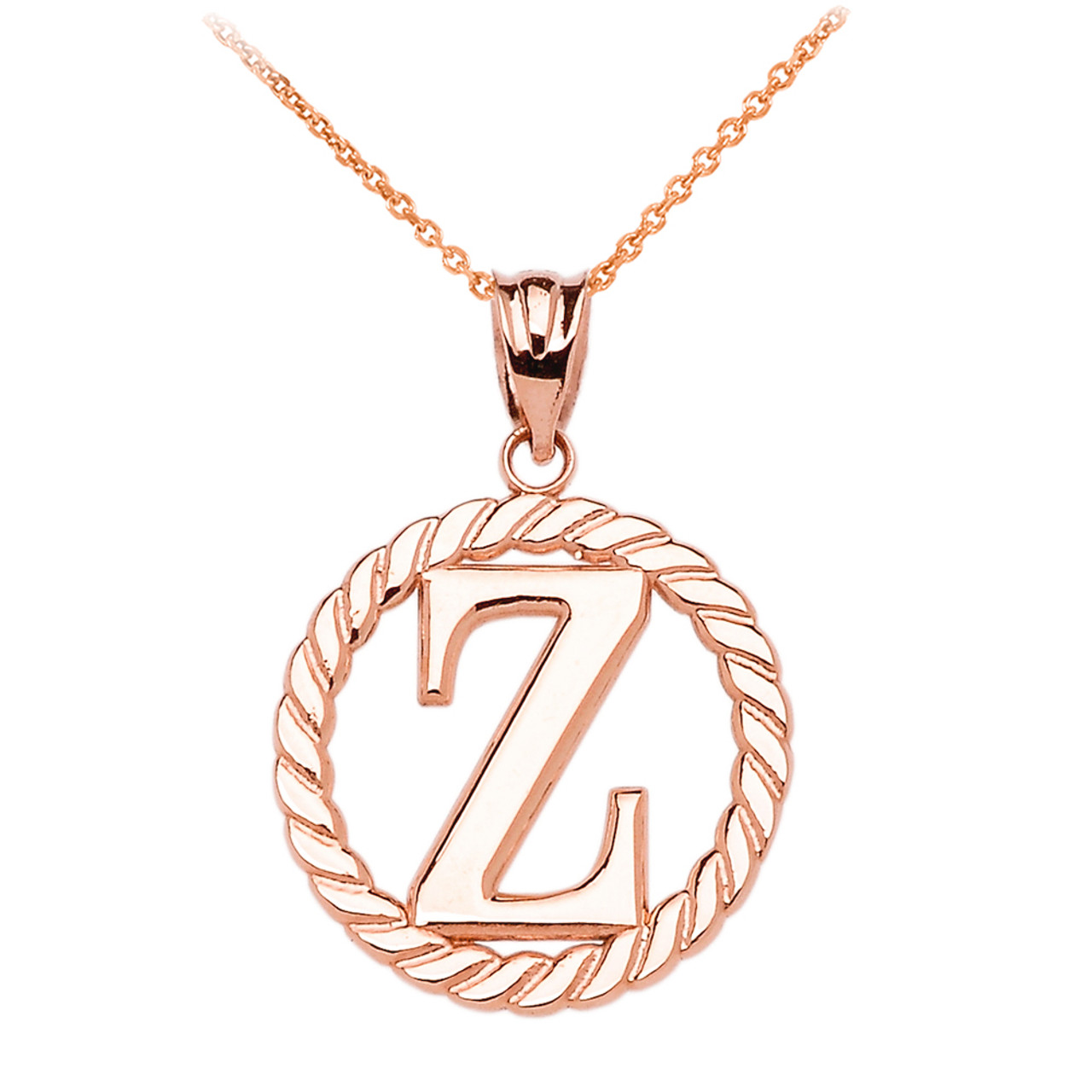 Rose gold z initial in rope circle pendant necklace mozeypictures Gallery