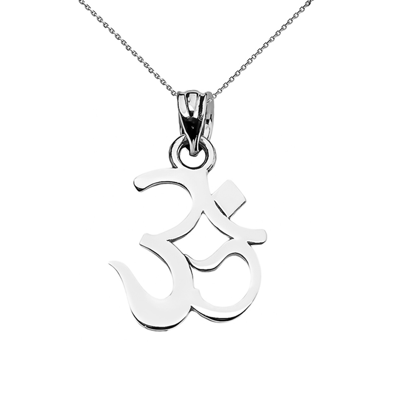 Ohm Om Ganesh Pendant Necklace In White Gold