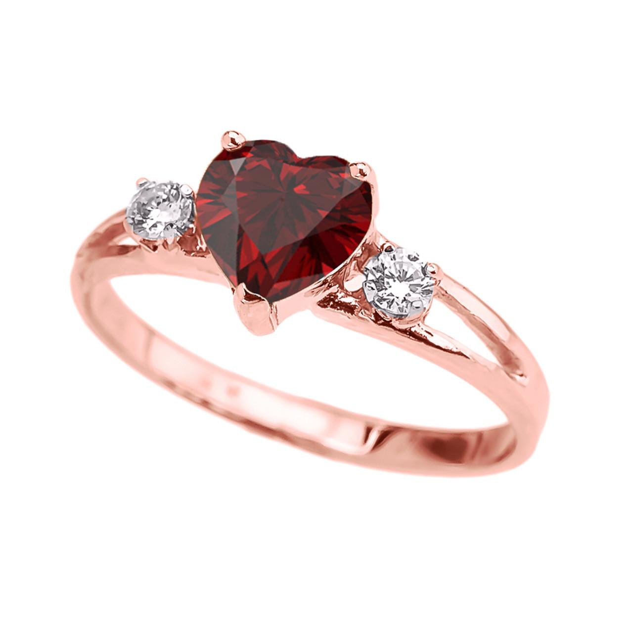 rose gold garnet heart white topaz proposal promise ring. Black Bedroom Furniture Sets. Home Design Ideas