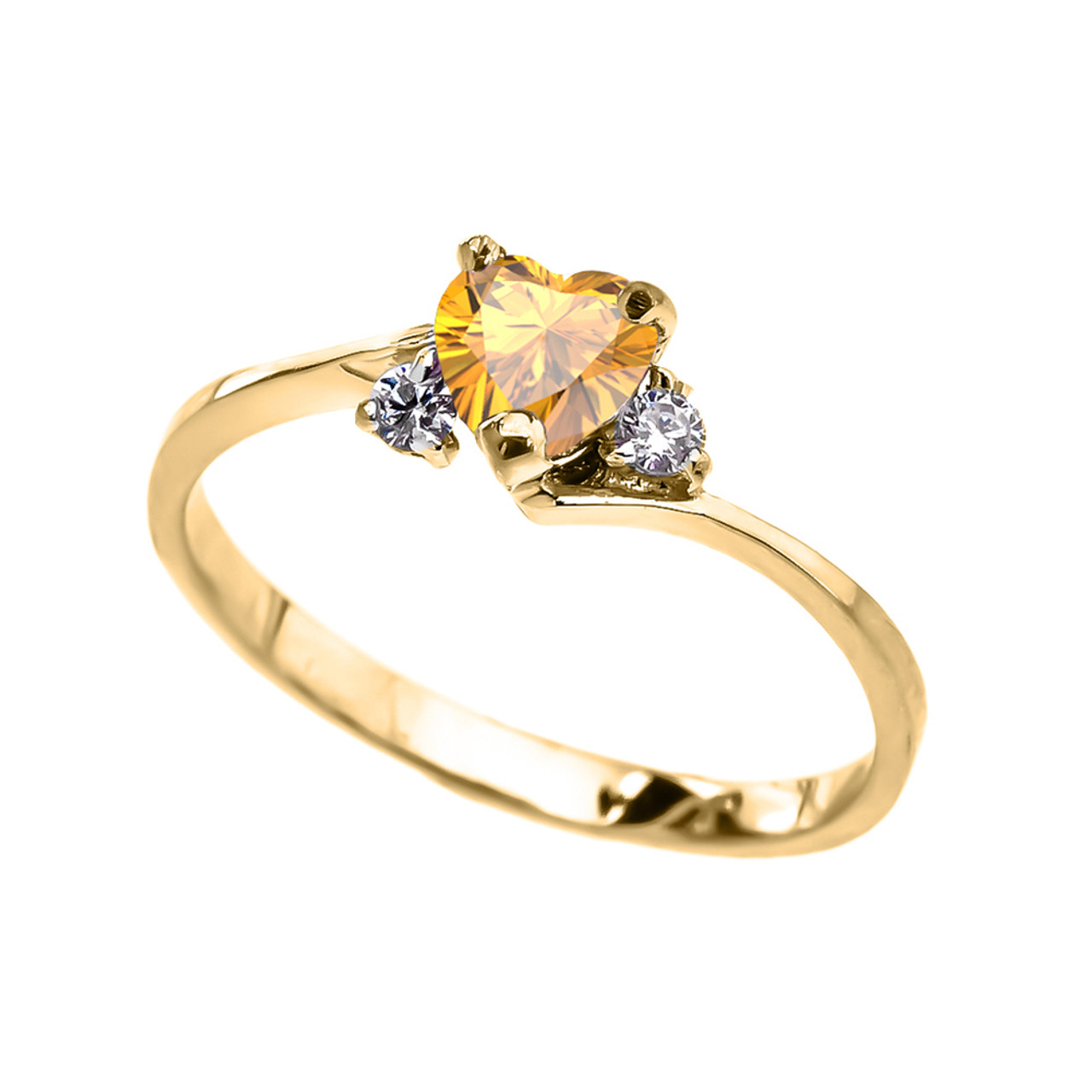 dainty yellow gold citrine cz heart promise ring. Black Bedroom Furniture Sets. Home Design Ideas