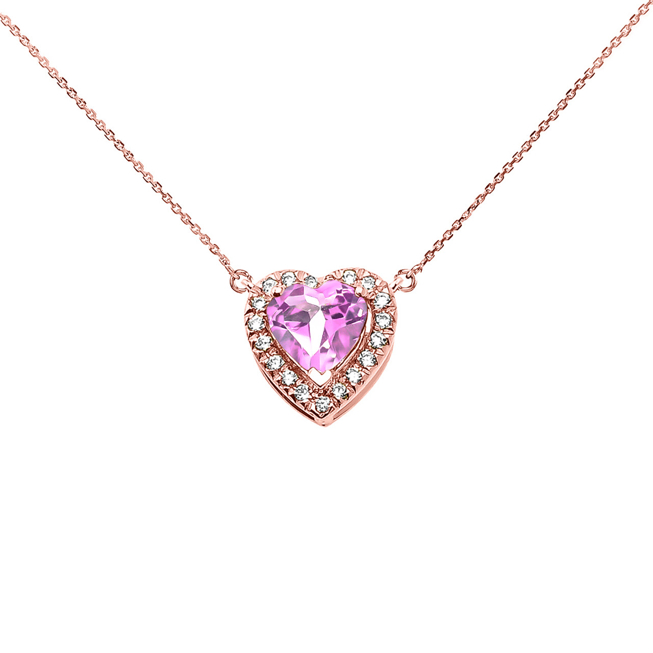 Elegant rose gold diamond and october birthstone cz pink heart elegant rose gold diamond and october birthstone cz pink heart solitaire necklace audiocablefo