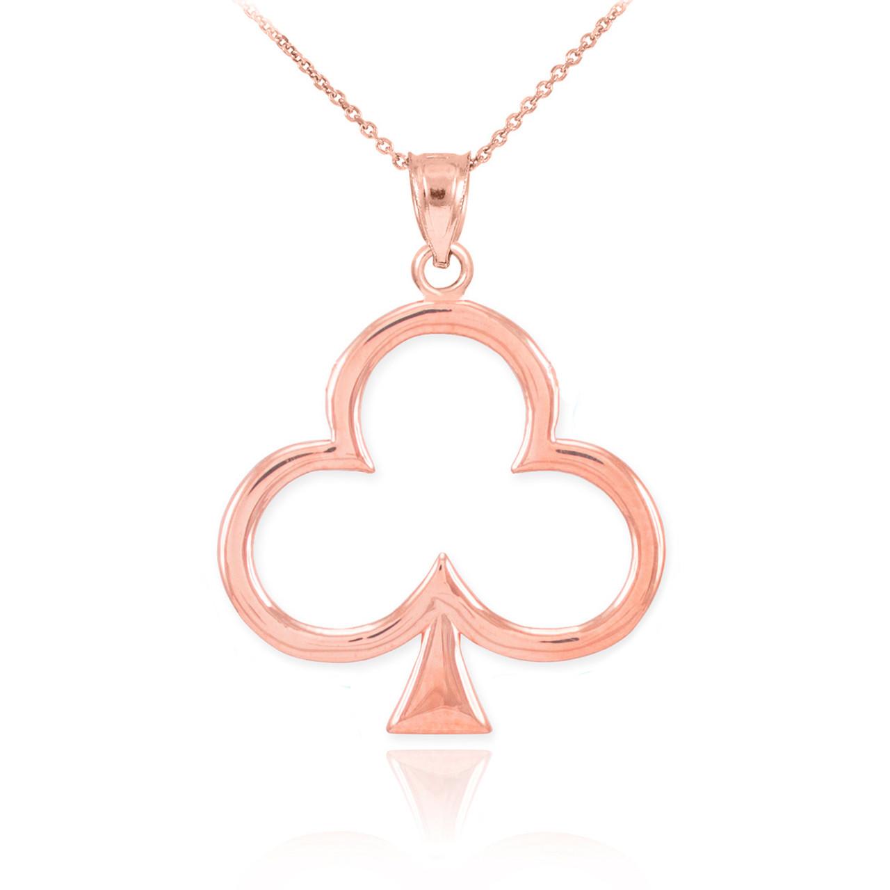 Rose gold clover shamrock pendant necklace aloadofball Images