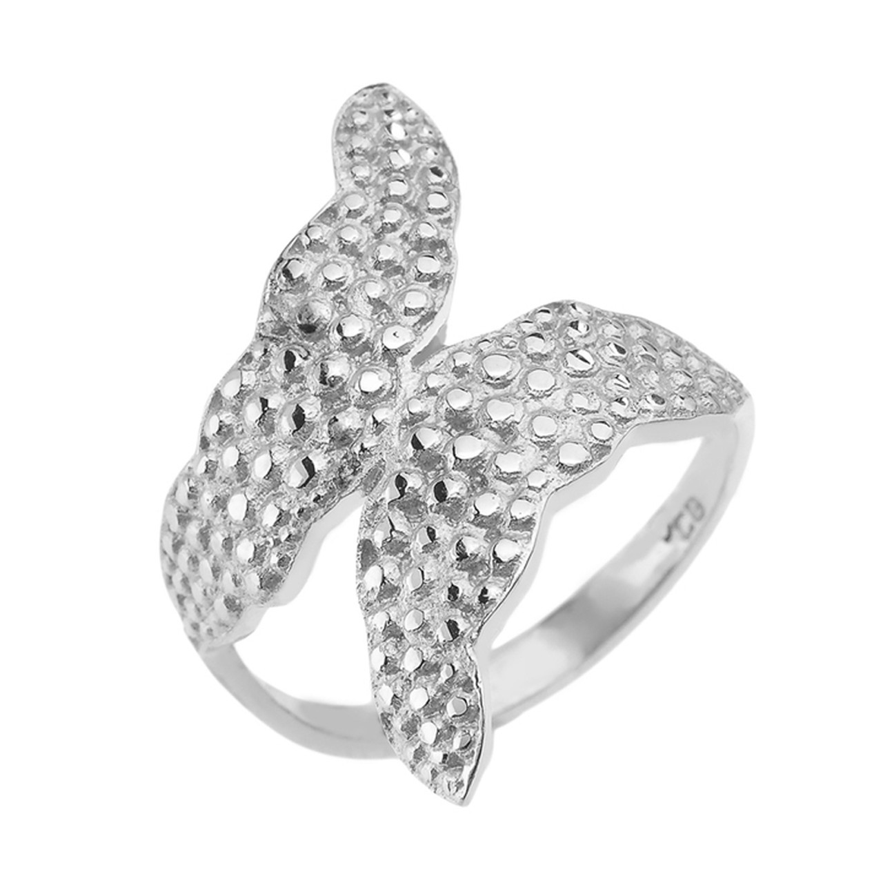 White Gold Unique Textured Leaf Wrap Flower Ring Leaf Rings