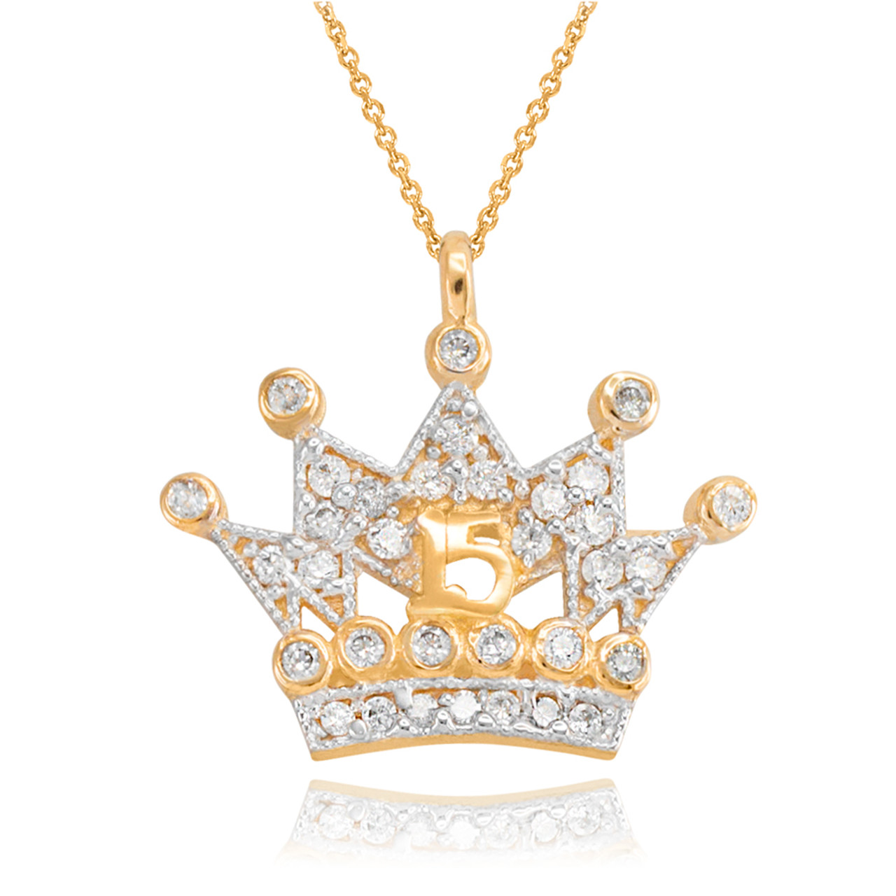 crown pendant royal vermeil gold pave cz necklace inches l