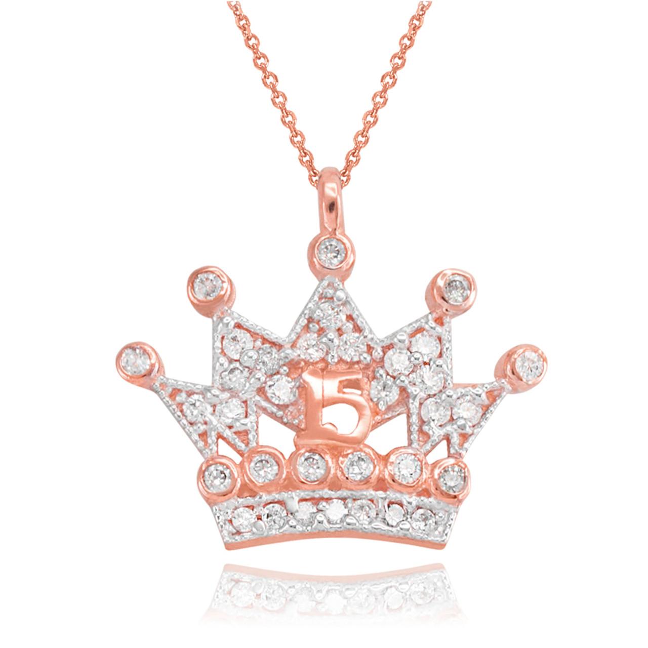 Gold quinceanera princess crown pendant necklace rose gold quinceanera princess crown pendant necklace aloadofball Gallery