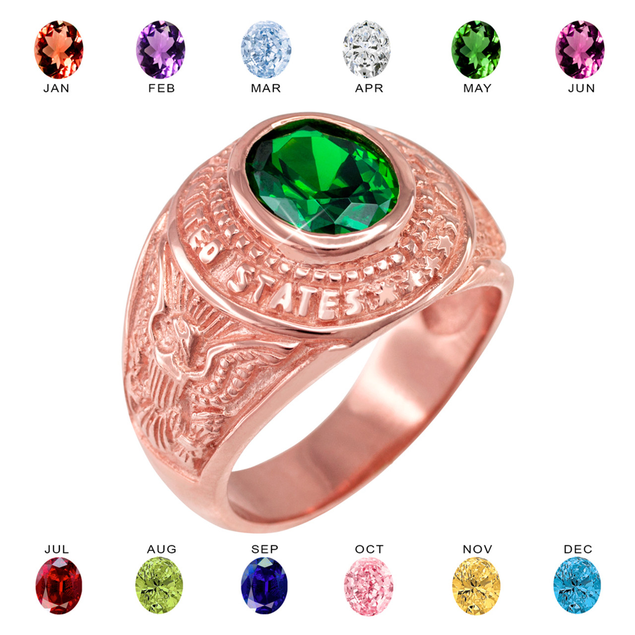 Solid Rose Gold US Army Men\'s CZ Birthstone Ring