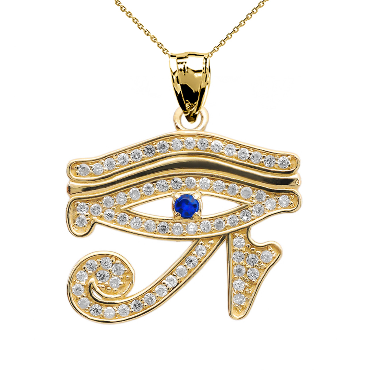 Yellow gold diamond and sapphire eye of horus pendant necklace eye of horus yellow gold diamond and sapphire pendant necklace aloadofball Choice Image