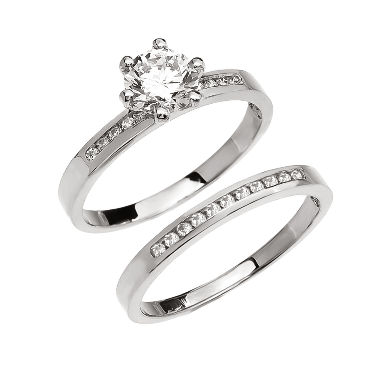 Diamond Channel-Set White Gold Engagement And Wedding Ring Set With ...
