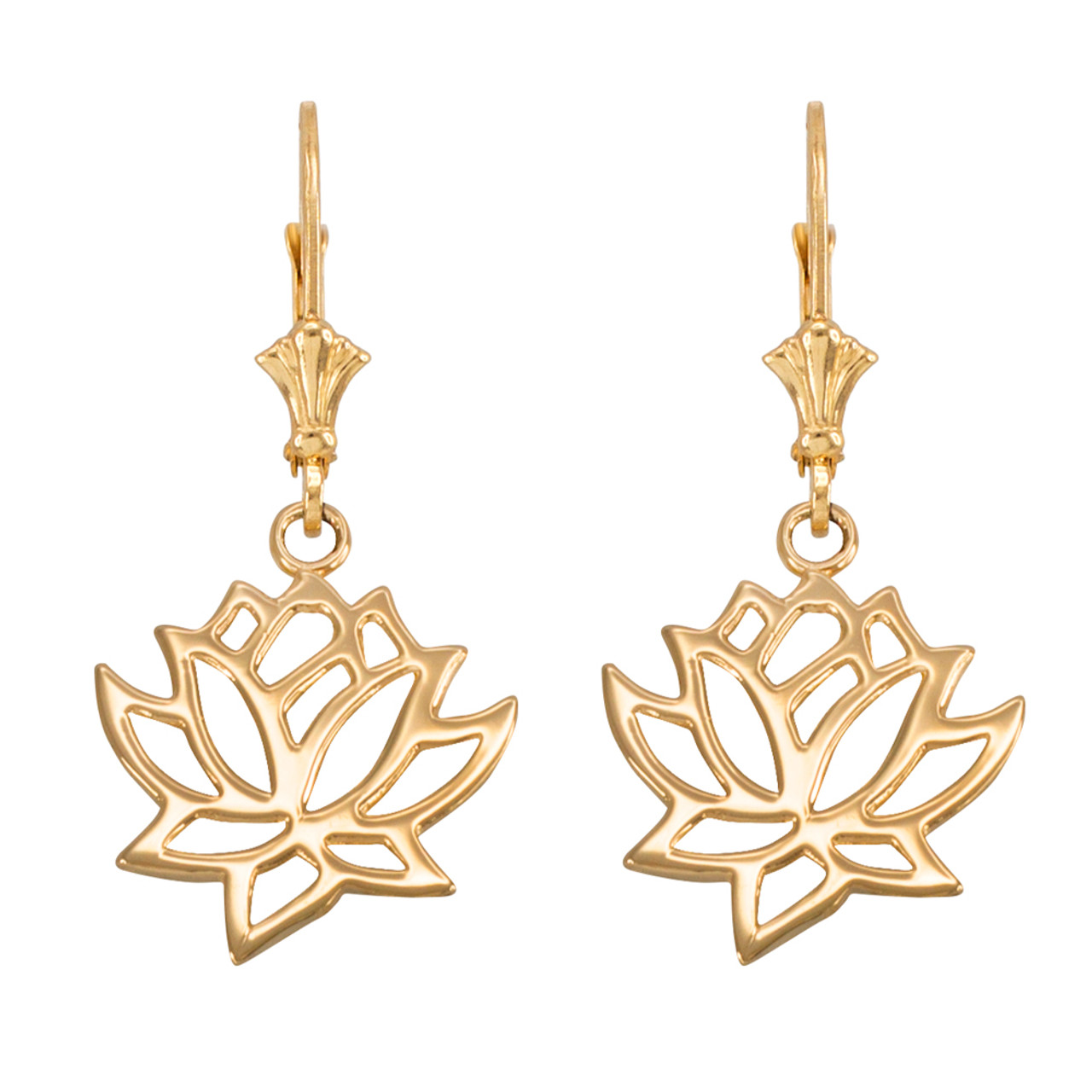 Gold lotus flower leverback earrings izmirmasajfo