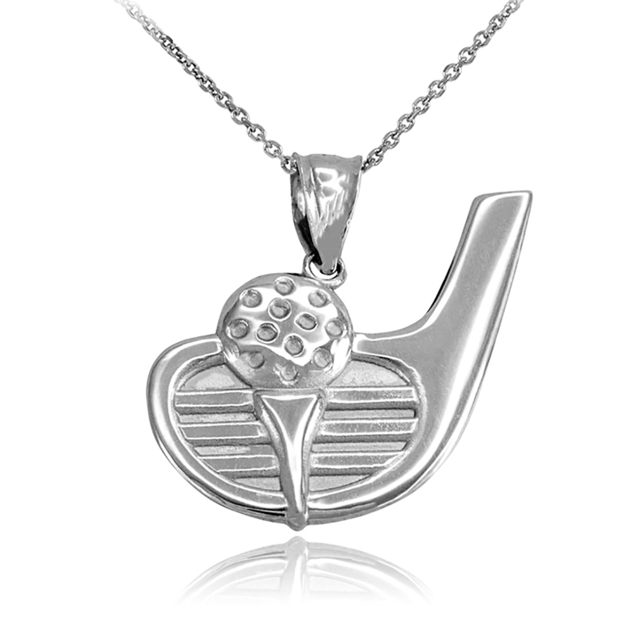 Sterling silver golf club ball pendant necklace aloadofball Images