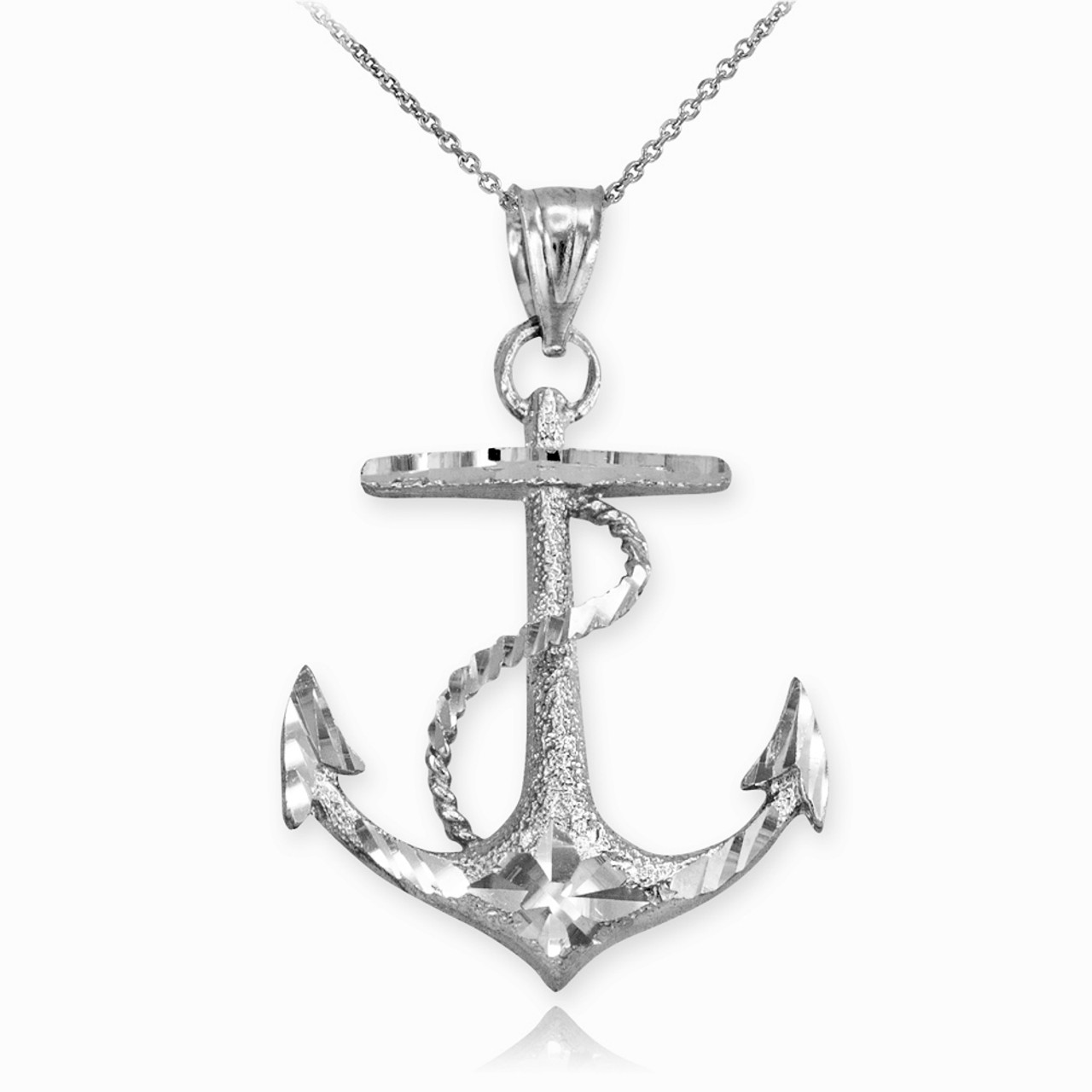 Textured white gold mariner anchor pendant necklace aloadofball Gallery