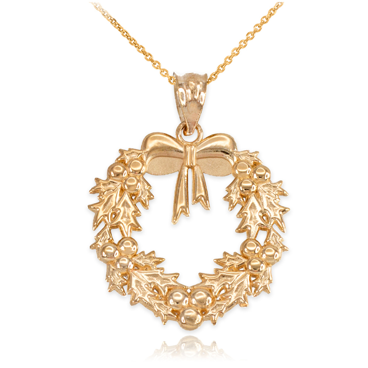 Yellow gold christmas wreath pendant necklace aloadofball Image collections