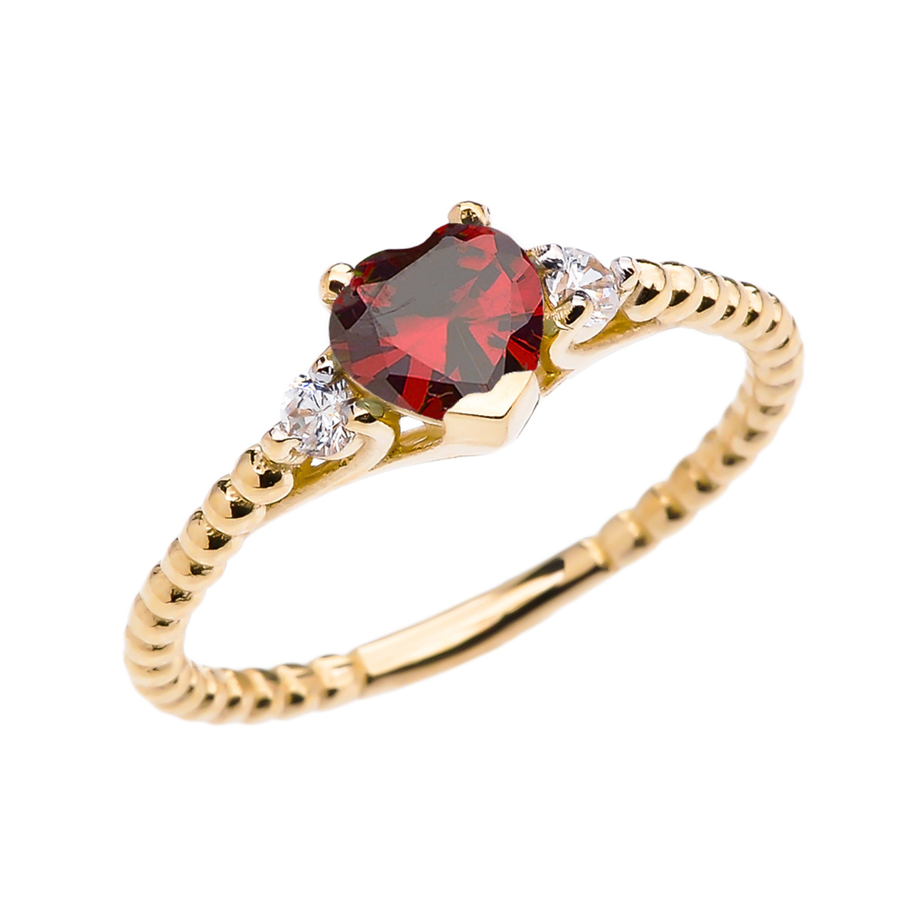 january birthstone garnet solitaire heart and white topaz. Black Bedroom Furniture Sets. Home Design Ideas