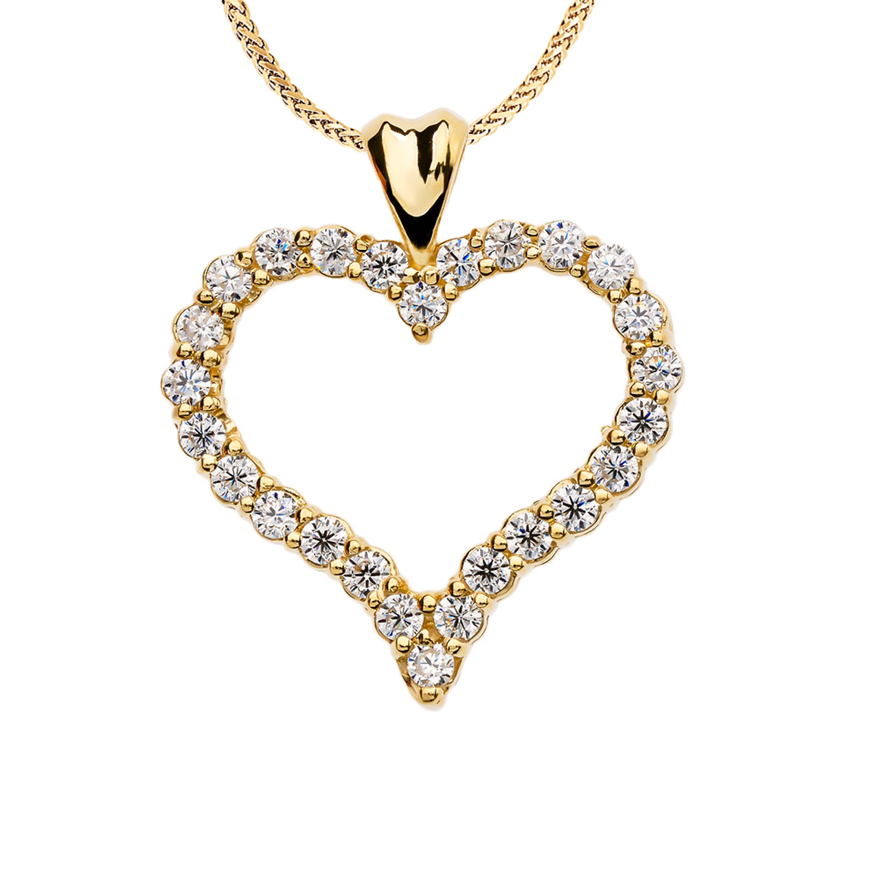Diamond yellow gold heart pendant necklace 1 carat diamond heart yellow gold pendant necklace aloadofball Images