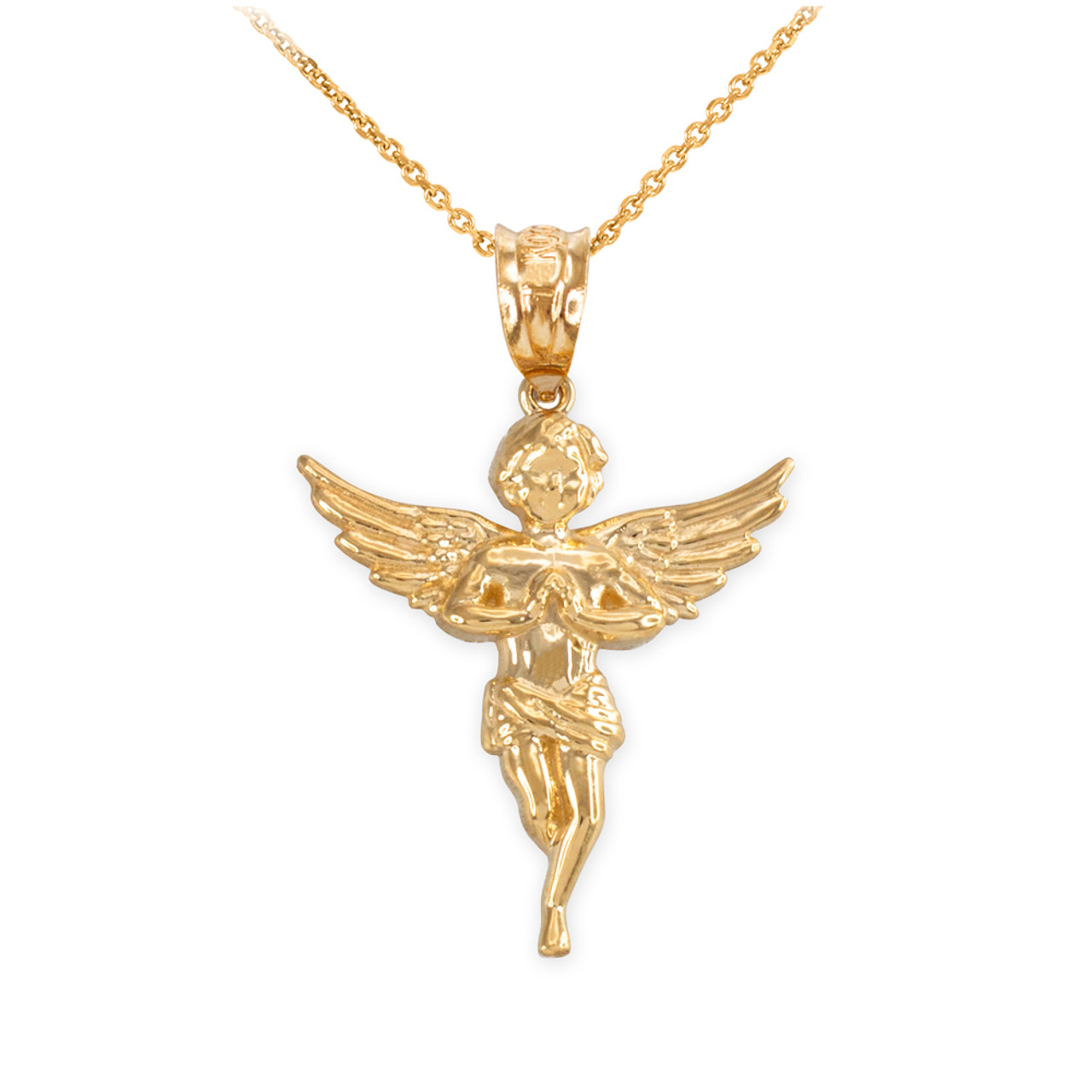 Yellow gold textured praying angel pendant necklace aloadofball Gallery