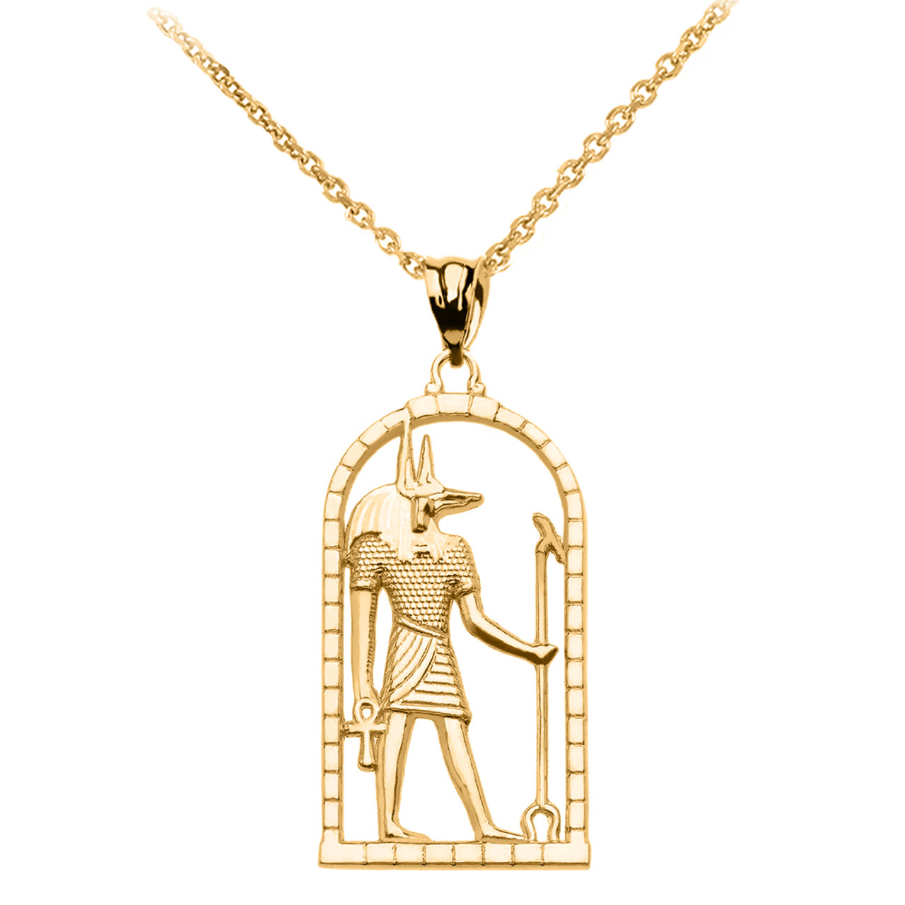 Yellow gold egyptian anubis pendant necklace aloadofball Images
