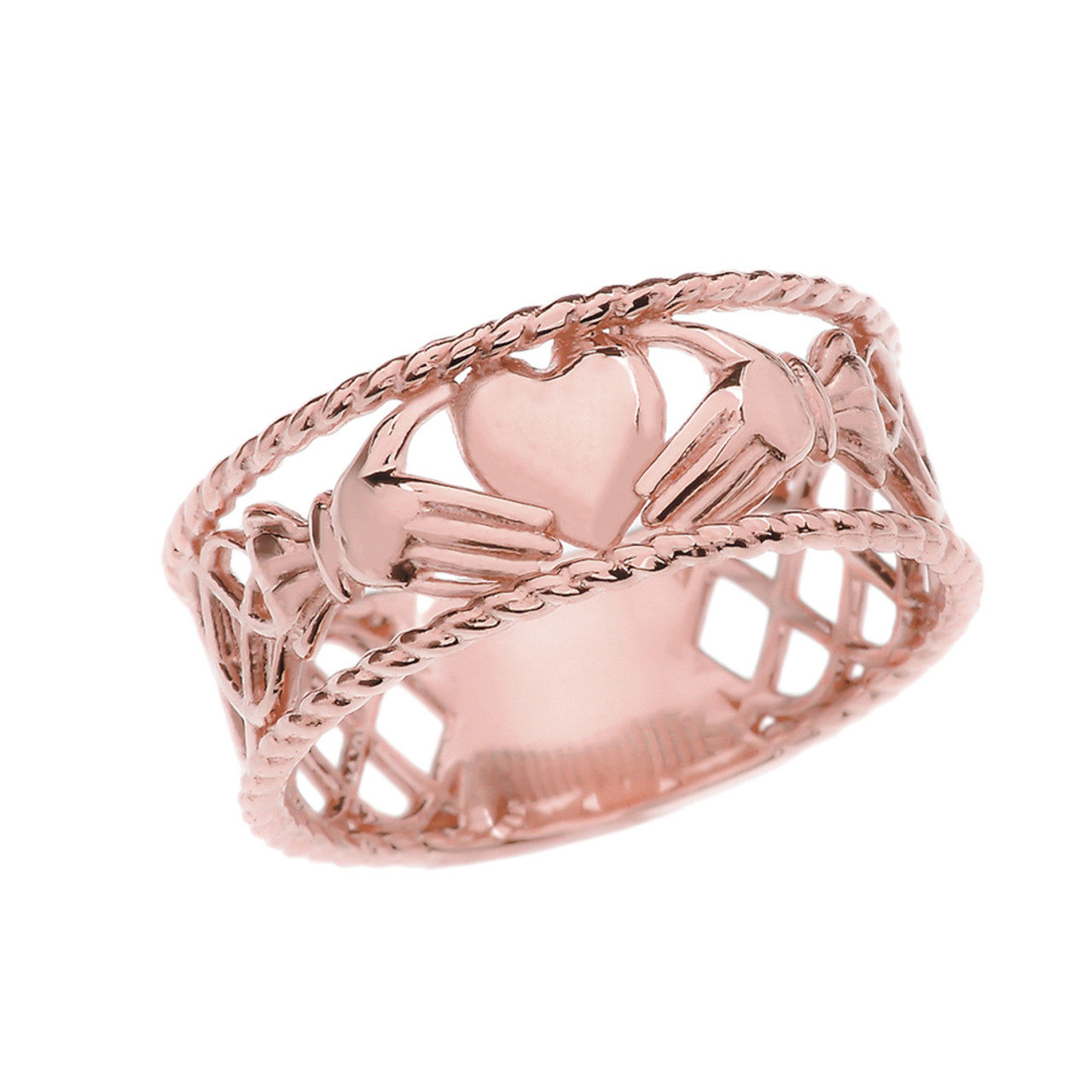 Rose Gold Claddagh Heart Ring