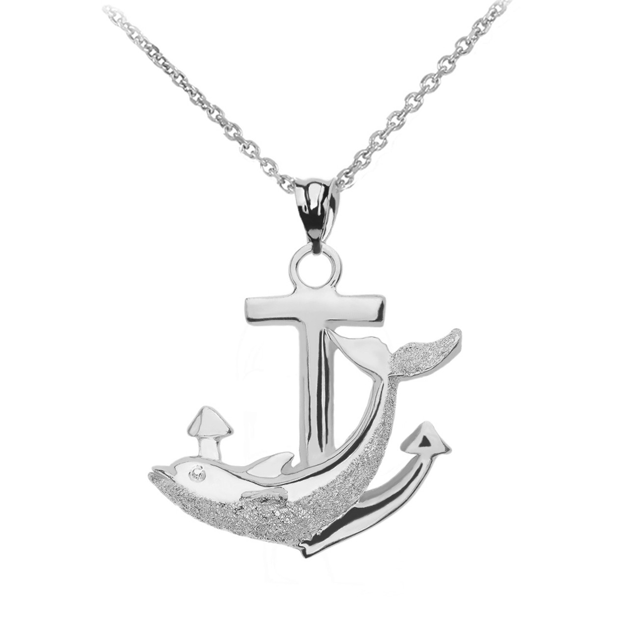 Sterling silver anchor textured dolphin pendant necklace aloadofball