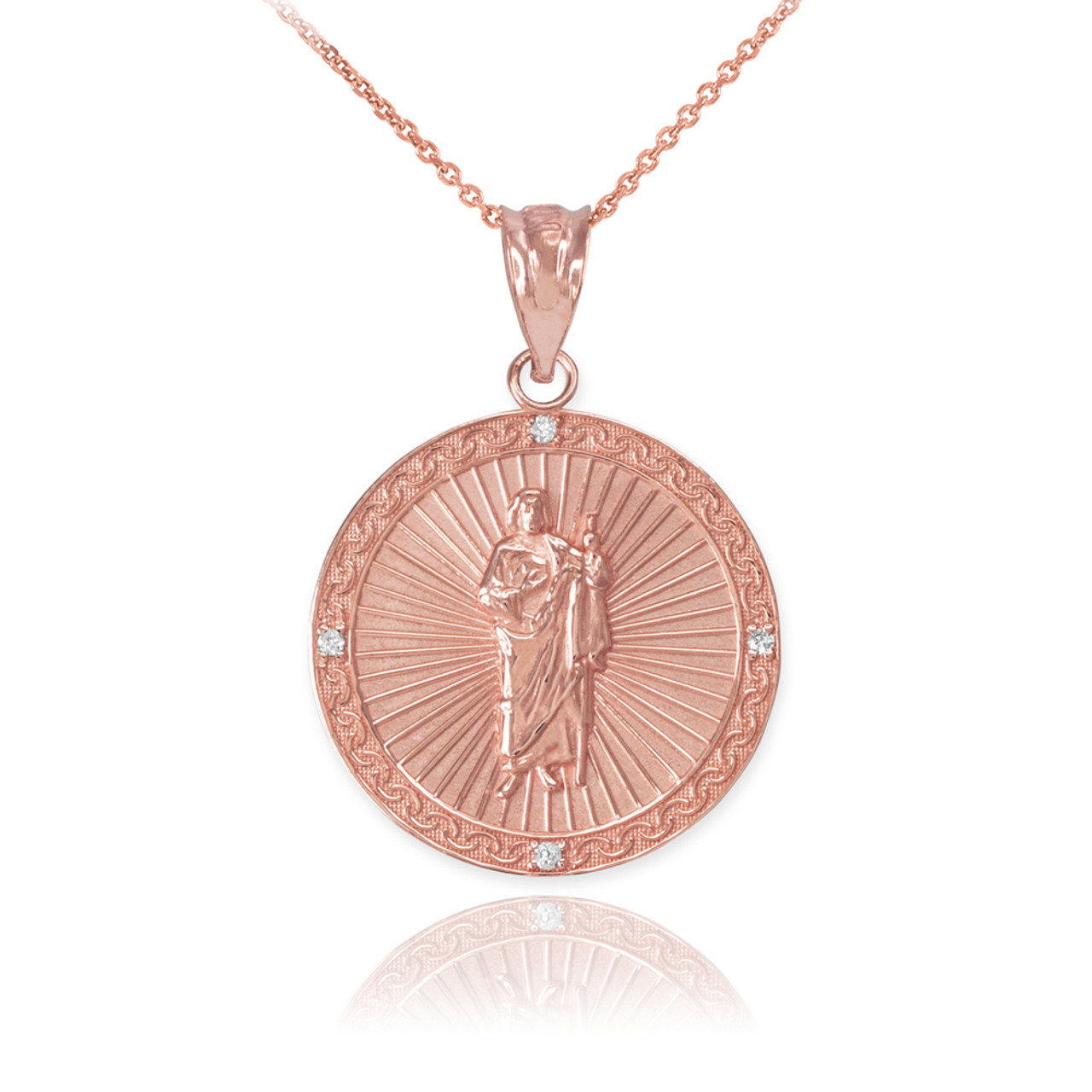 Rose gold st jude diamond disc pendant necklace aloadofball Choice Image