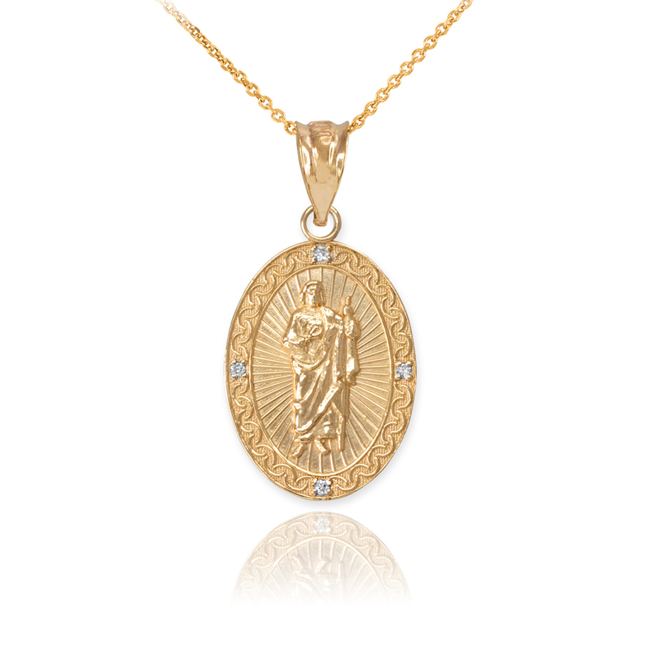 yellow gold st jude diamond oval small pendant necklace. Black Bedroom Furniture Sets. Home Design Ideas