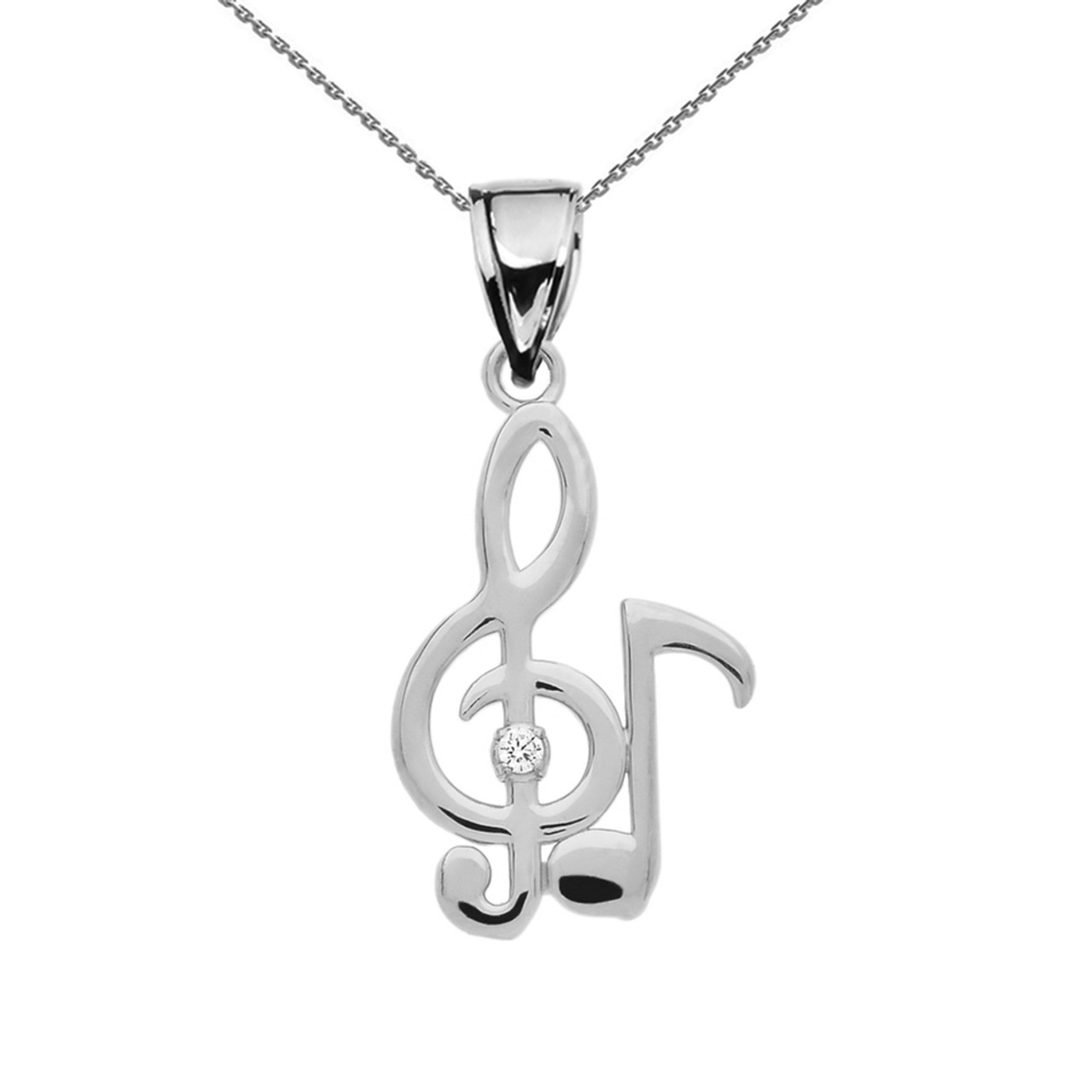 Diamond treble clef and eighth note music white gold pendant necklace aloadofball Gallery