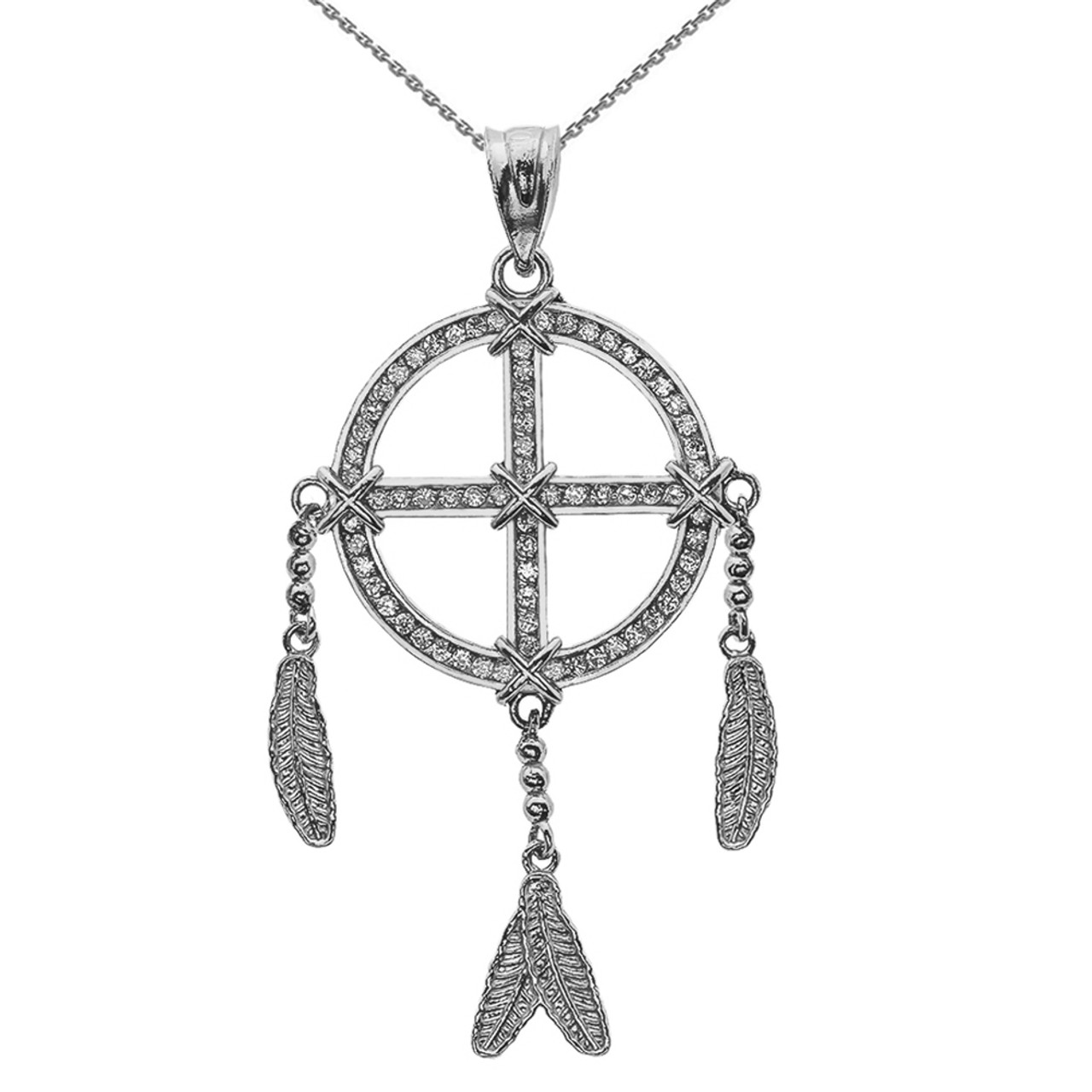 White gold and diamond dream catcher pendant necklace aloadofball Images