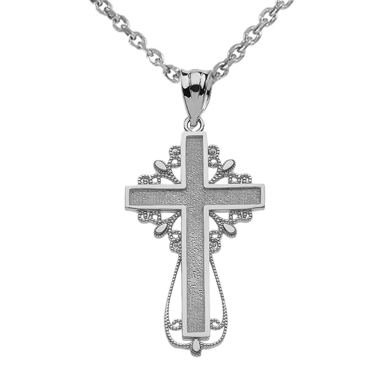 White gold latin filigree cross pendant necklace aloadofball Image collections