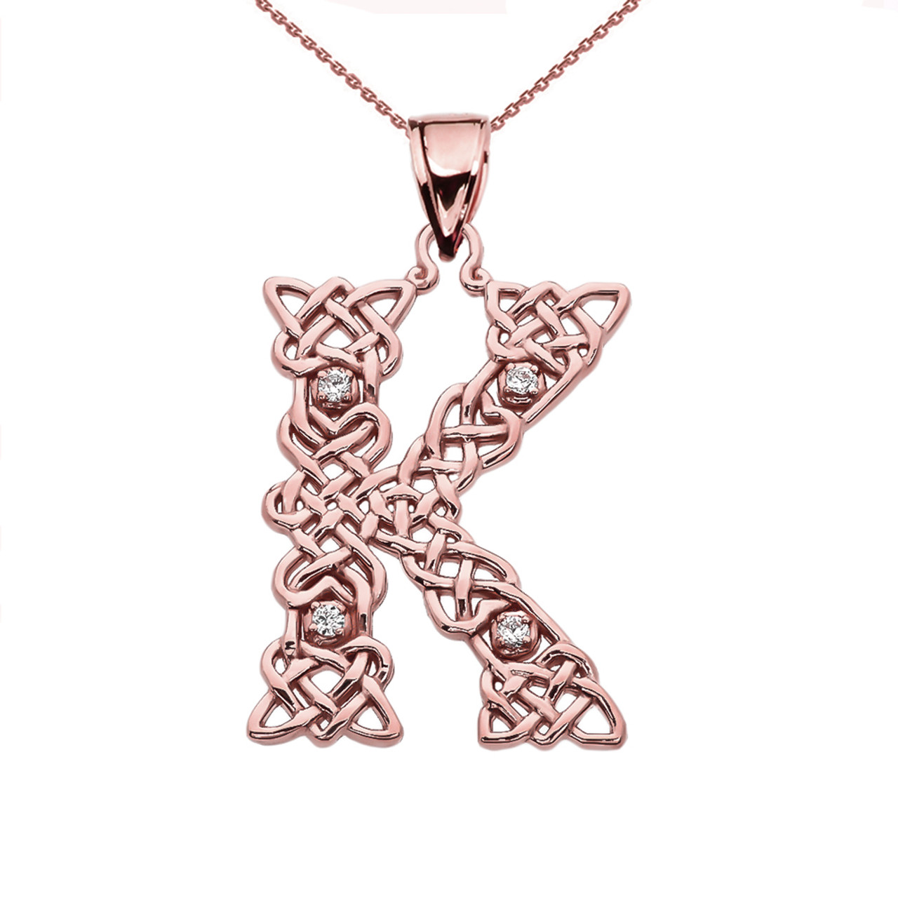 Diamond k initial in celtic pattern rose gold pendant necklace k initial in celtic knot pattern rose gold pendant necklace with diamond mozeypictures Images