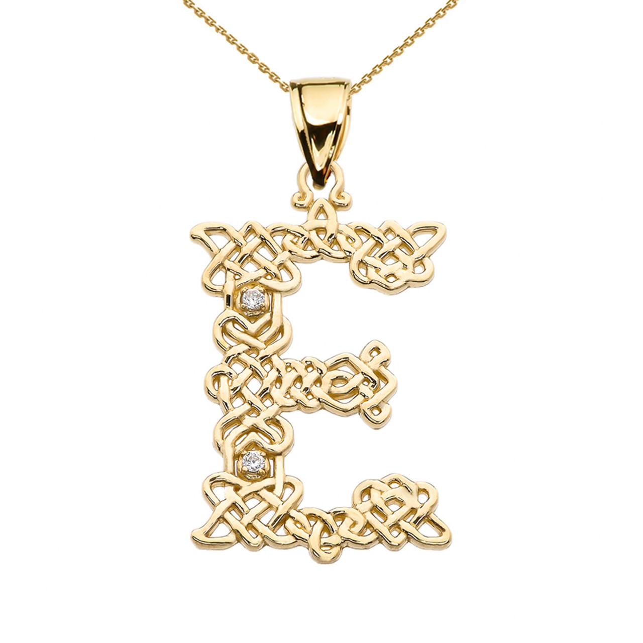 Diamond e initial in celtic pattern yellow gold pendant necklace e initial in celtic knot pattern yellow gold pendant necklace with diamond aloadofball Gallery