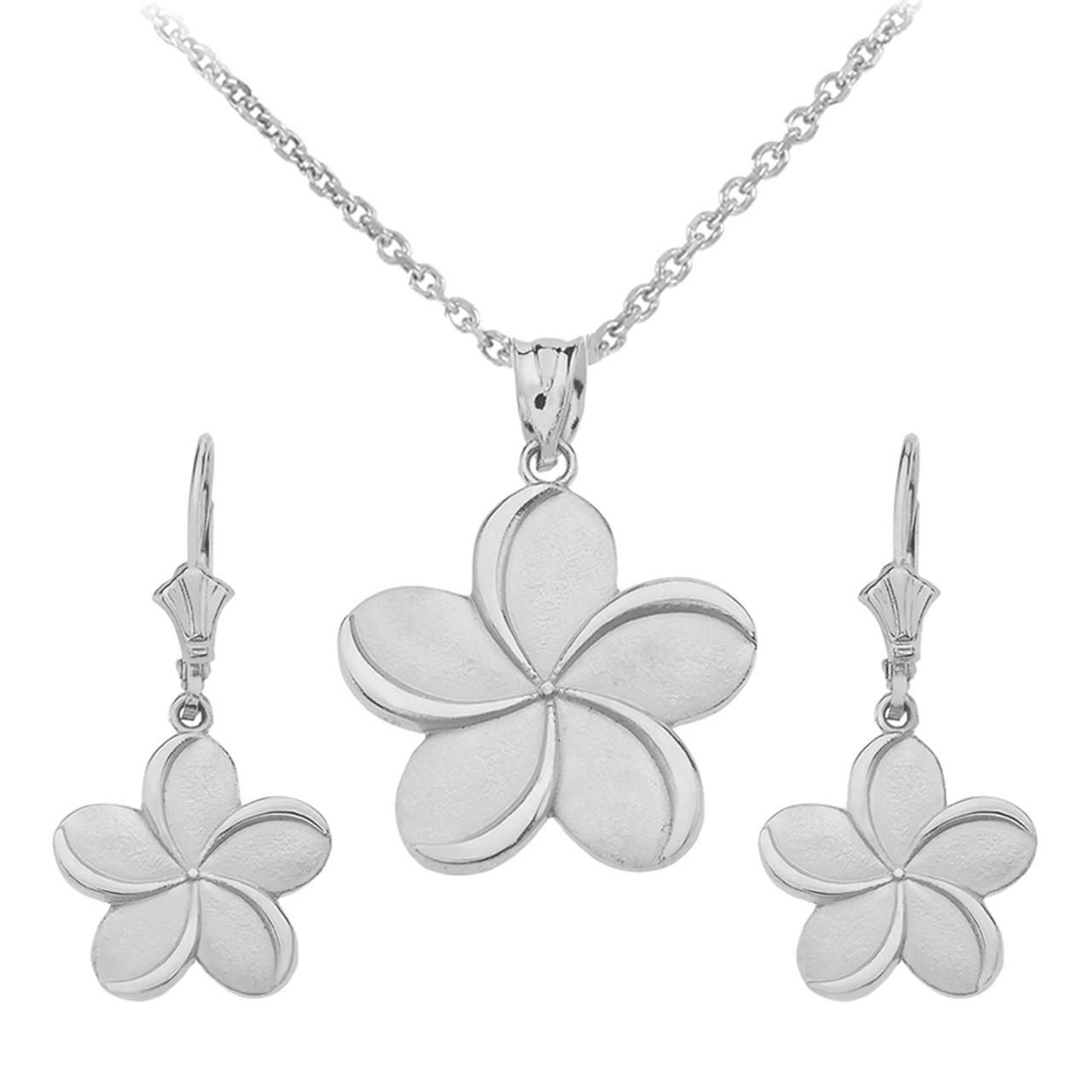 Sterling Silver Hawaiian Plumeria Flower Necklace Earring Set
