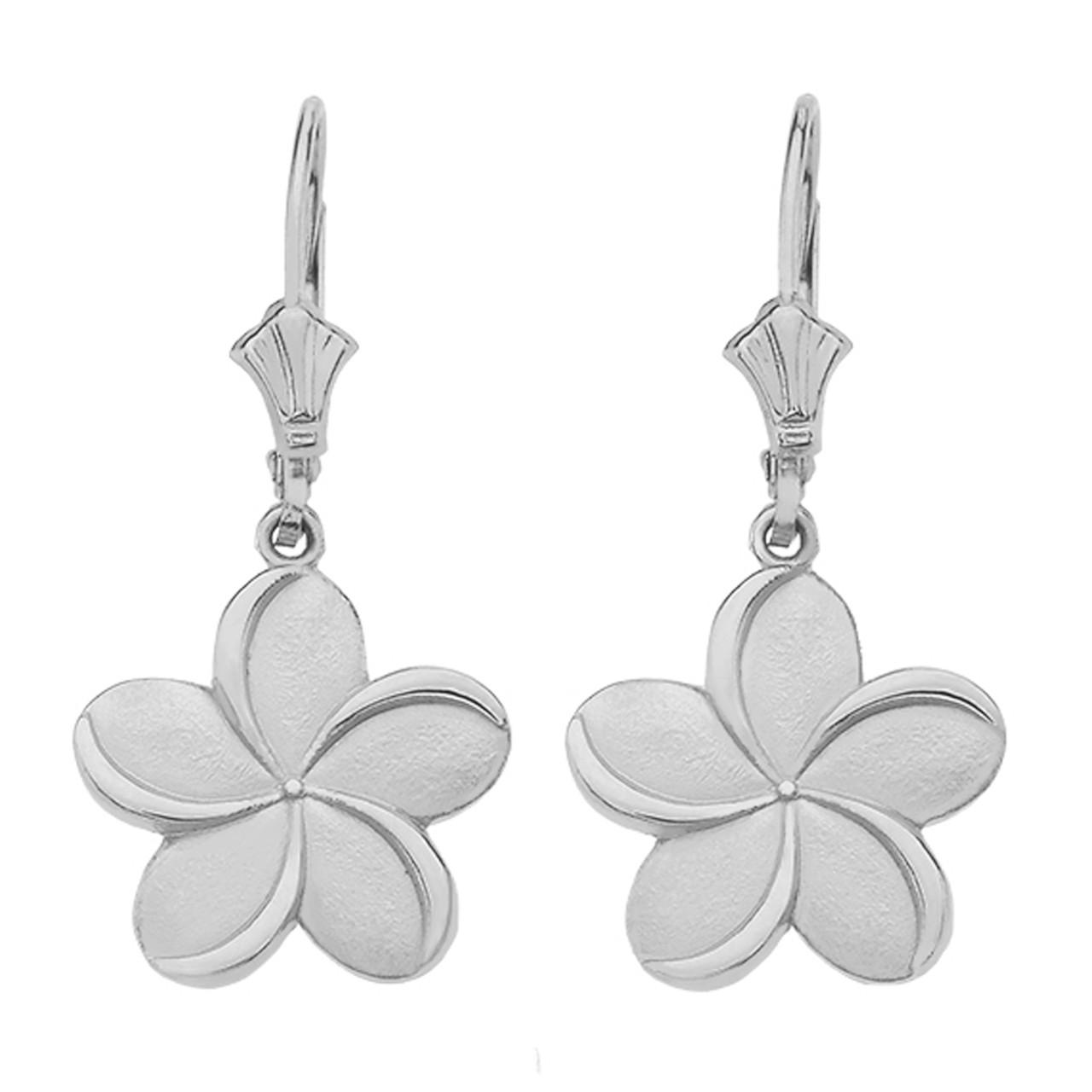 Sterling Silver Hawaiian Plumeria Flower Earrings Earrings
