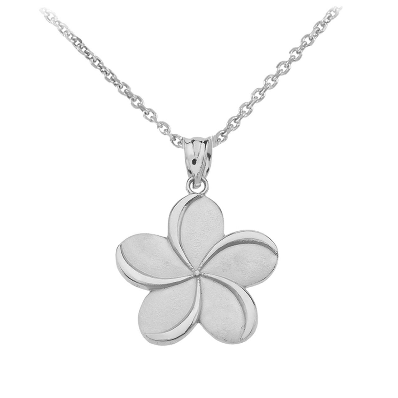 Sterling silver hawaiian plumeria flower pendant necklace izmirmasajfo