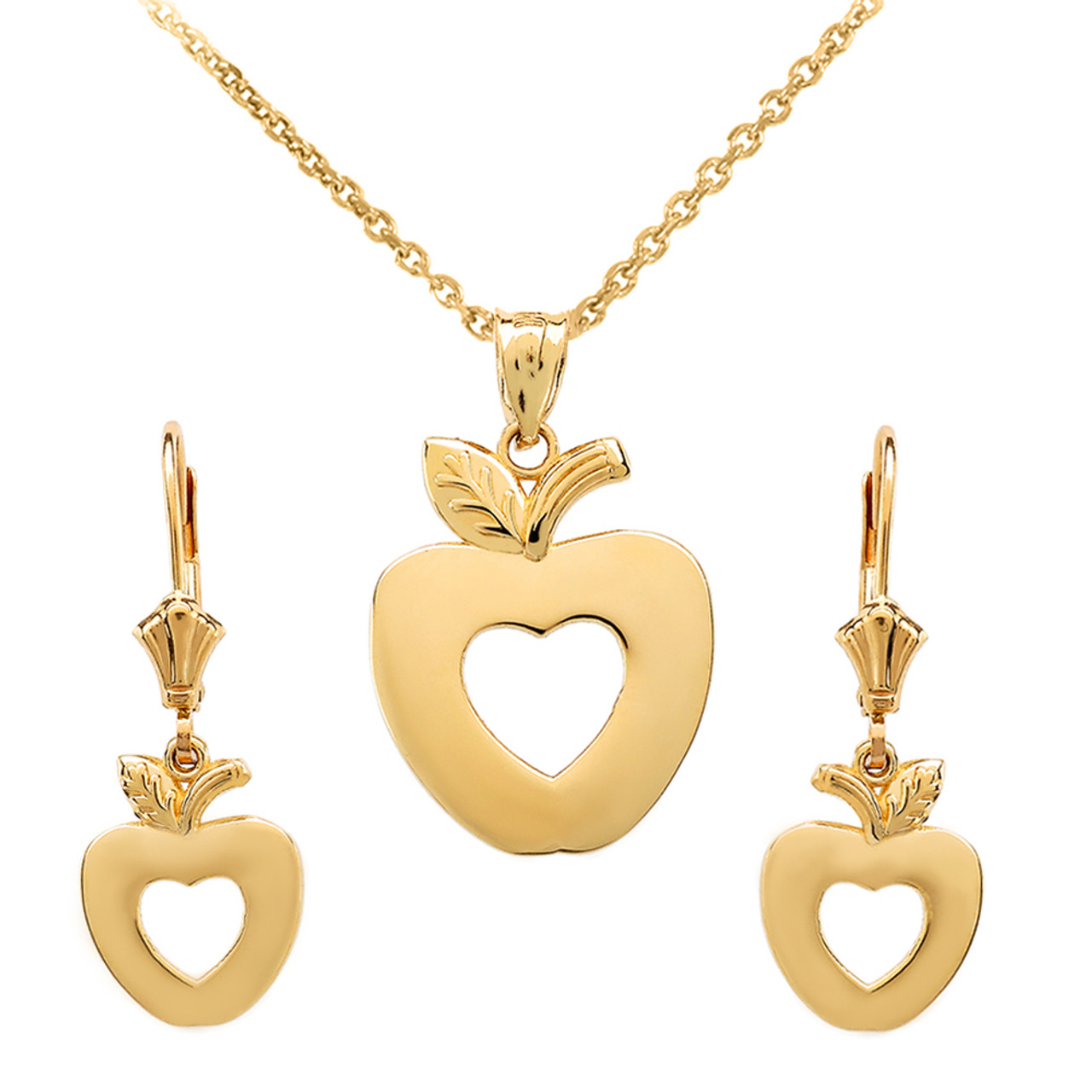 14k yellow gold apple heart necklace earring set aloadofball Image collections