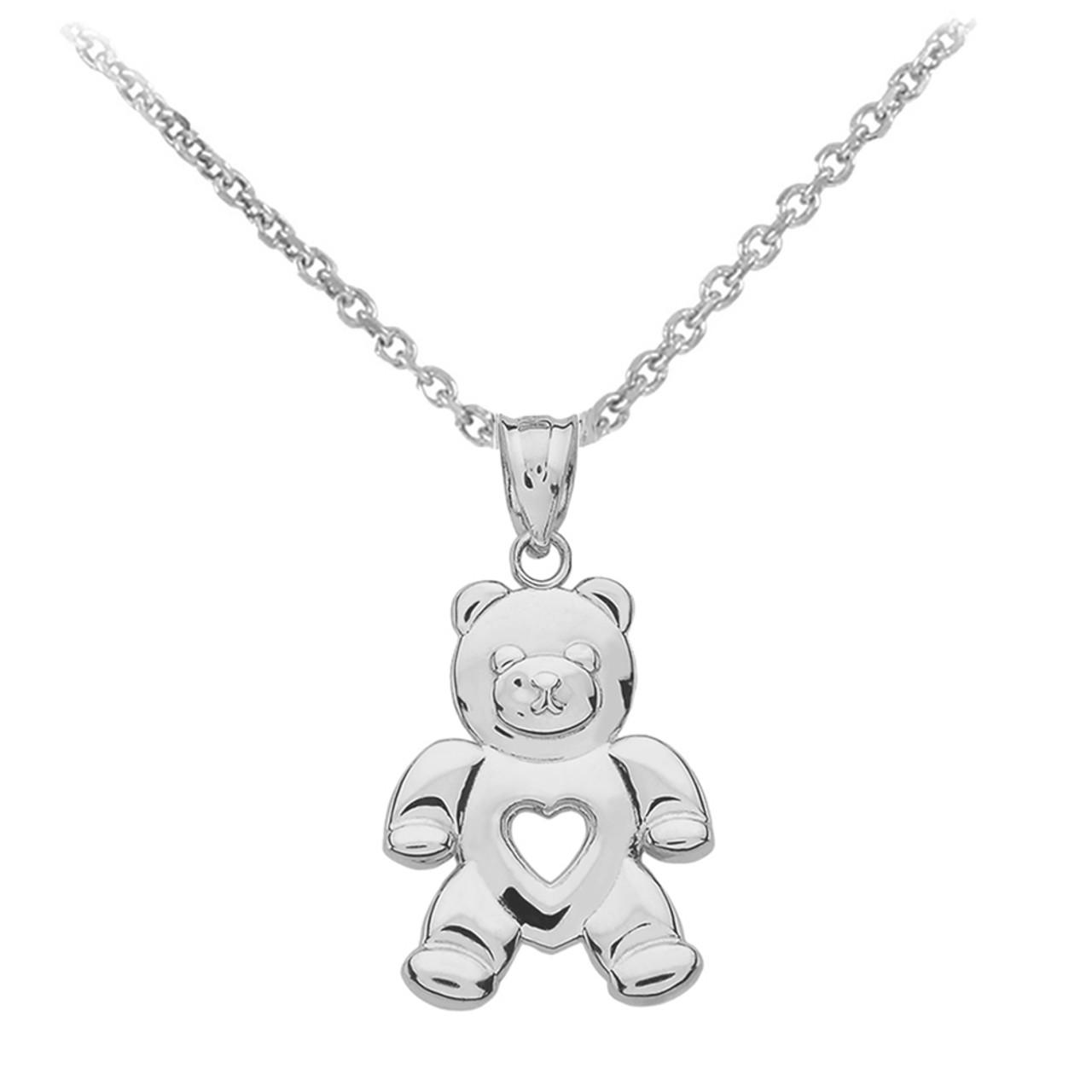 Sterling silver love bear pendant necklace aloadofball Choice Image