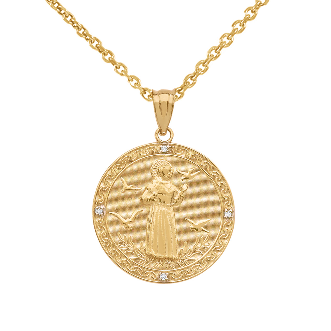 Yellow gold saint francis of assisi circle medallion diamond pendant yellow gold saint francis of assisi circle medallion diamond pendant necklace small aloadofball