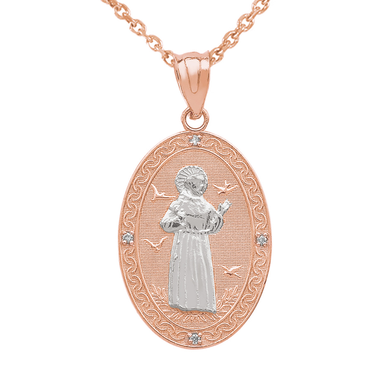 Two tone rose gold st francis of assisi oval medallion diamond two tone rose gold st francis of assisi oval medallion diamond pendant necklace medium aloadofball Choice Image