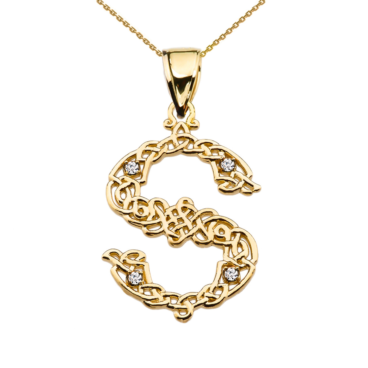S initial in celtic knot pattern yellow gold pendant necklace with s initial in celtic knot pattern yellow gold pendant necklace with diamond aloadofball Gallery