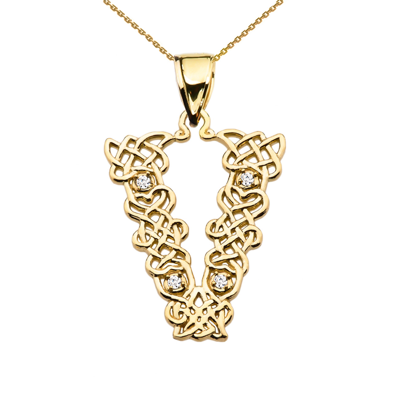V initial in celtic knot pattern yellow gold pendant necklace with v initial in celtic knot pattern yellow gold pendant necklace with diamond mozeypictures Images