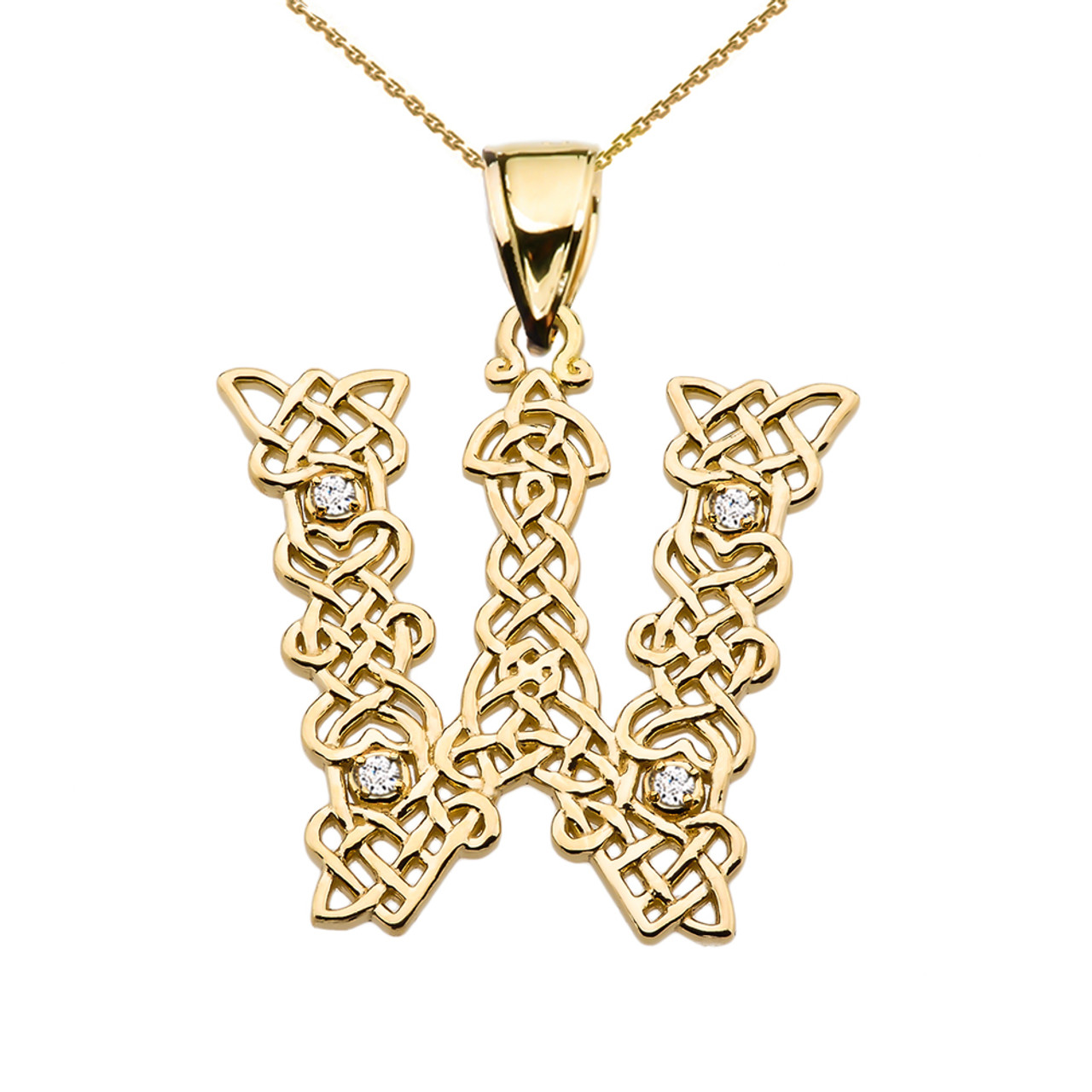 W initial in celtic knot pattern yellow gold pendant necklace with w initial in celtic knot pattern yellow gold pendant necklace with diamond aloadofball Gallery