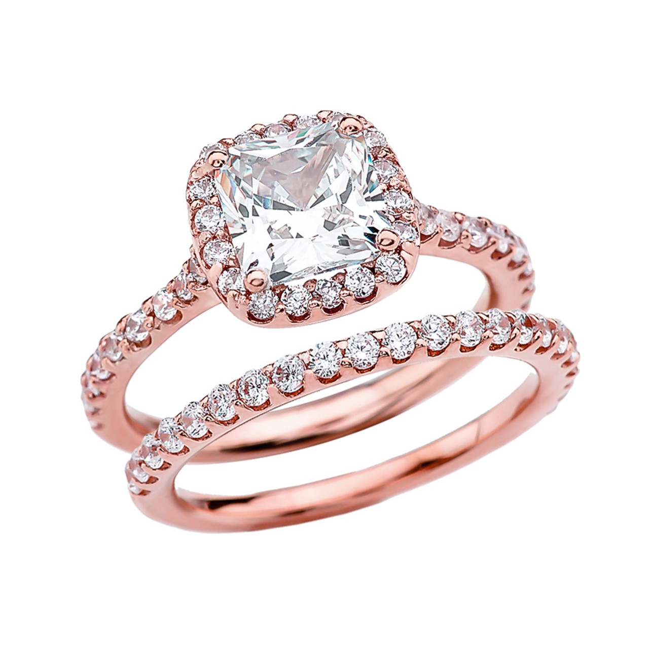 Cubic Zirconia Cushion Shape Solitaire Elegant Rose Gold Engagement ...