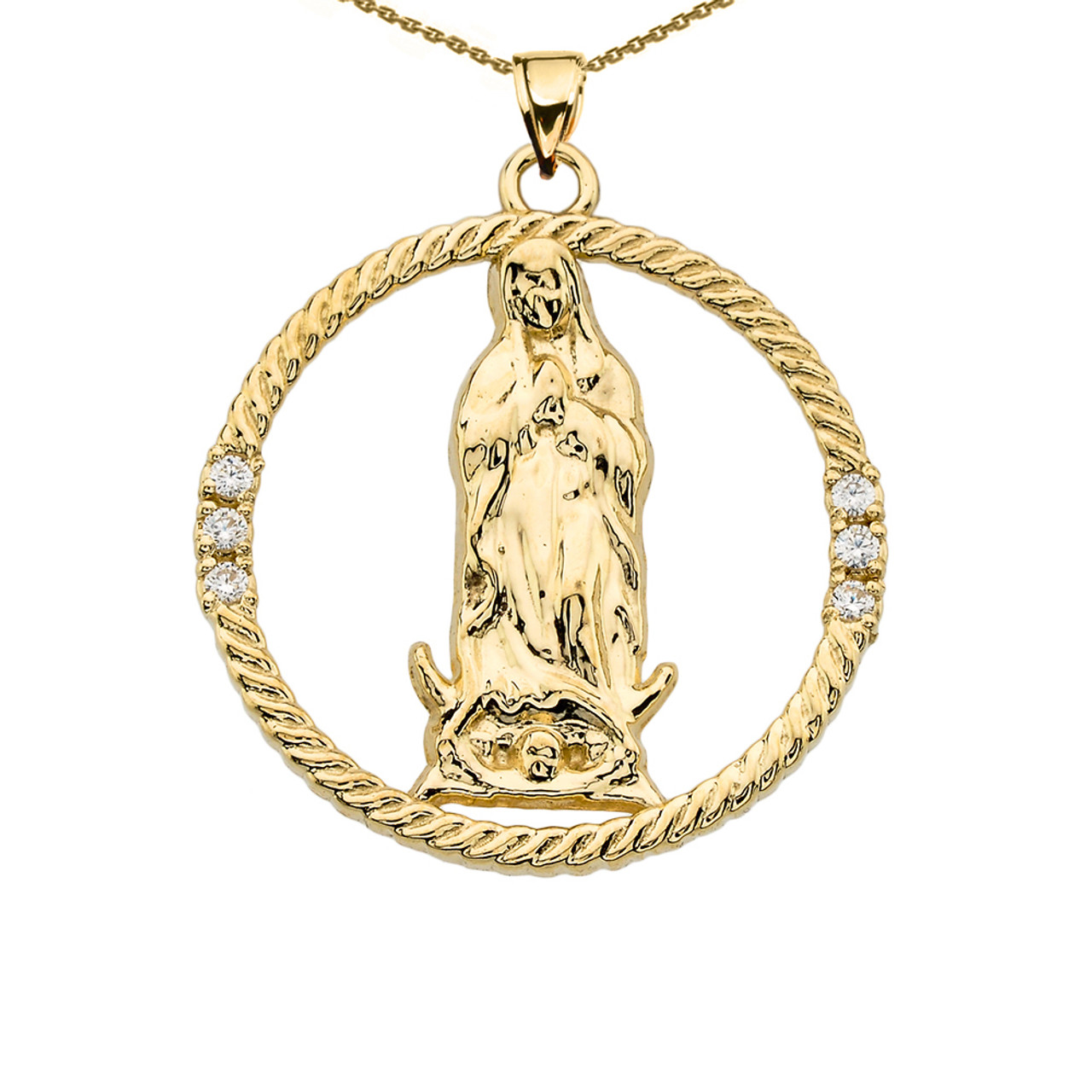 The blessed virgin mary diamond yellow gold round design pendant the blessed virgin mary diamond yellow gold round design pendant necklace aloadofball Choice Image