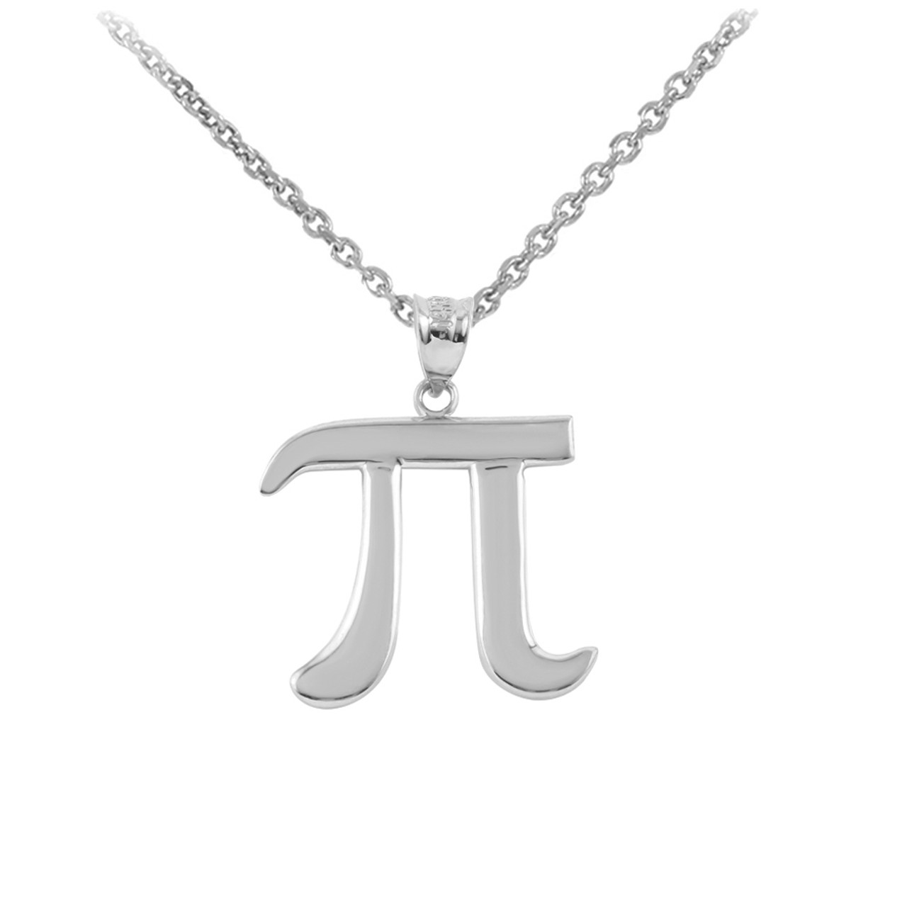 Sterling Silver Pi Symbol Math Pendant Necklace