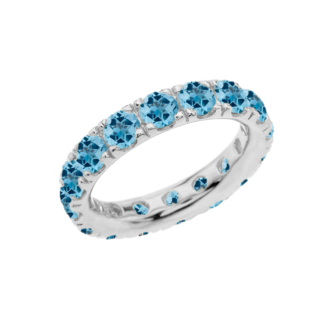 4mm comfort fit sterling silver eternity band with december