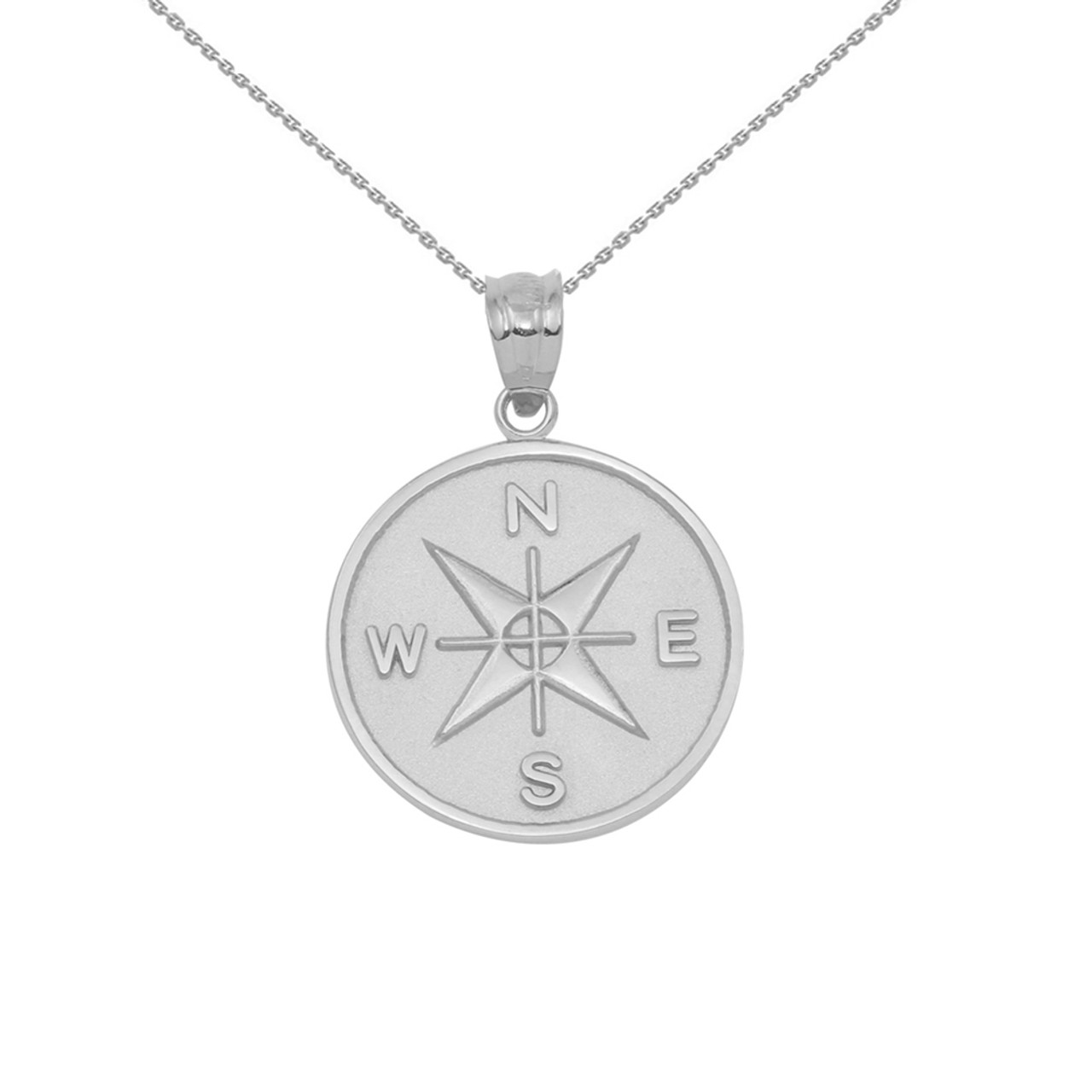 Sterling silver compass medallion pendant necklace aloadofball Choice Image