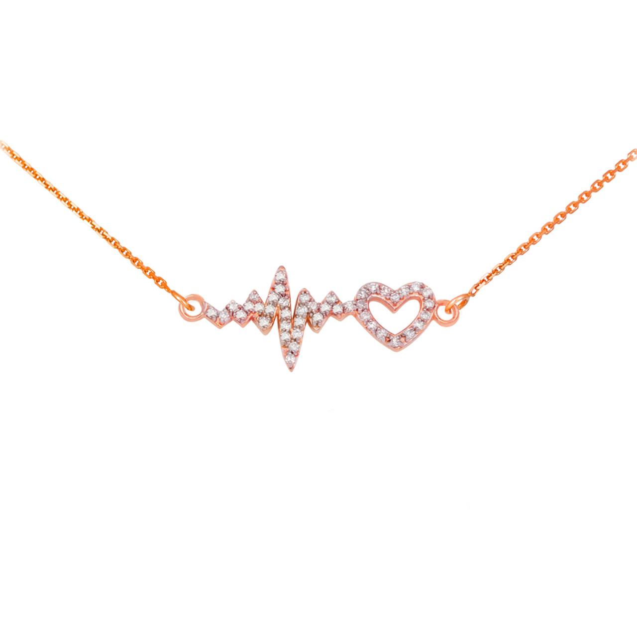 14k rose gold lifeline pulse heartbeat heart diamond pendant necklace mozeypictures Image collections