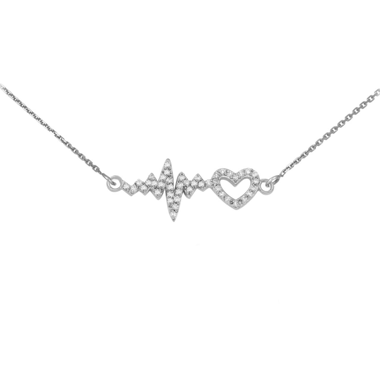 14k white gold lifeline pulse heartbeat heart diamond pendant necklace aloadofball Choice Image