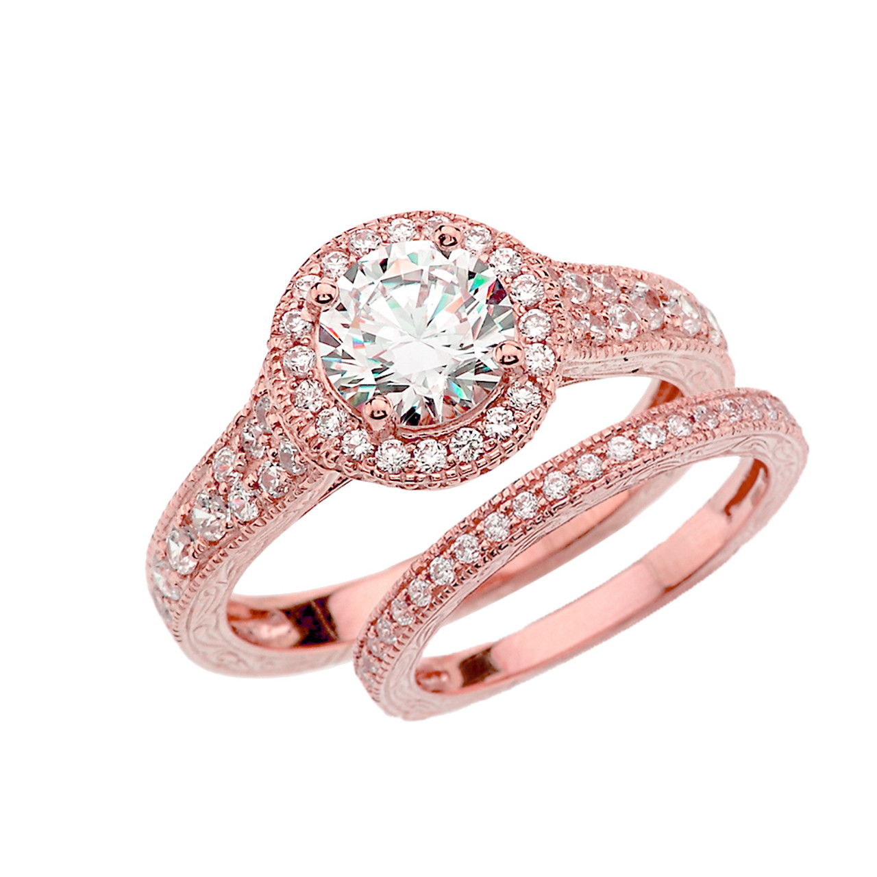Rose Gold Art Deco Diamond Wedding Ring Set With 1 ct White Topaz ...